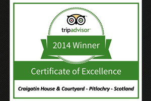 Tripadvisor Certificate of Excellence 2010, 2011 & 2012